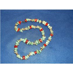 """Turquoise and Coral Necklace- 14"""""""