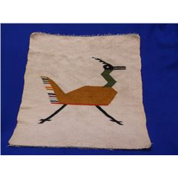 "Unmarked Wool South American Wall Hanging- Roadrunner Motiff- 26""L X 25""W"