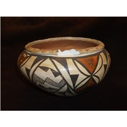 "Marked Acoma Polychrome Bowl- C. 1950- Letter of Authenticity- Chip in Rim- 5.5""H X 6.25""W"