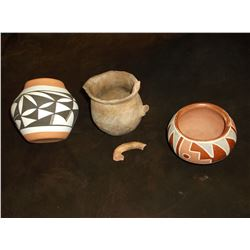 "Early SW Pitcher with Broken Handle- 4"" X 4""- Modern Pueblo Pot- 3""H X 4""W- Jemez Acoma Pot"