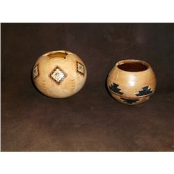 "2 Modern Navaho Pots- Hand Painted and Etched- 4.75""H X 5""W- 3.5""H X 4""W- Letter of Authenticity"