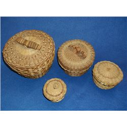 "4 Woven Lidded Contemporary Nesting Baskets- 5""H X 7""W"