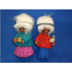 "2 Original ""LI'L Luv Indian Dolls- Handcrafted- 11""T"