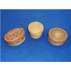 3 Native American NW Polychrome Lidded Baskets- 4.5 L X 3 W X 2 H- 2.5 H X 3.5 W- 2 H X 4 W