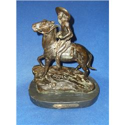 """Marked Inspired by Frederick Remington 876 Bronze- """" Scout""""- Marked OHB- 13""""H- Base 10.5""""L X 6.5""""W"""