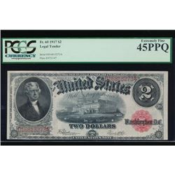 1917 $2 Legal Tender Note PCGS 45PPQ