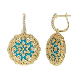 14KT Yellow Gold 9.86ctw Turquoise and Diamond Earrings