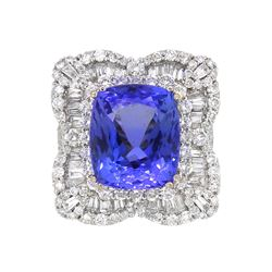 18KT White Gold 12.14ct Tanzanite and Diamond Ring