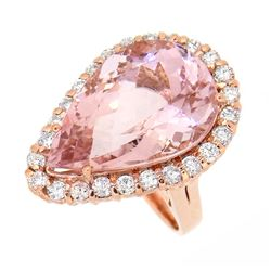 14KT Rose Gold 14.10ct Morganite and Diamond Ring
