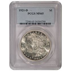 1921-D $1 Morgan Silver Dollar Coin PCGS MS65