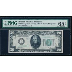 1934 $20 San Francisco Federal Reserve Note PMG 65EPQ