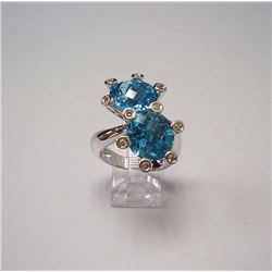 14KT White Gold 11.51ctw Blue Topaz and Diamond Ring