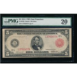 1914 $5 Large San Francisco Red Seal Federal Reserve Note PMG 20