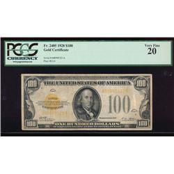 1928 $100 Gold Certificate PCGS 20