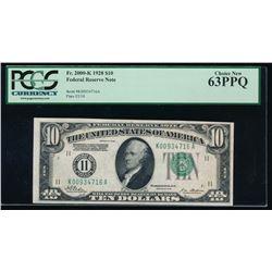 1928 $10 Dallas Federal Reserve Note PCGS 63PPQ