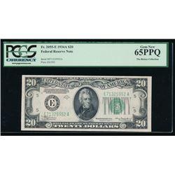 1934A $20 Richmond Federal Reserve Note PCGS 65PPQ