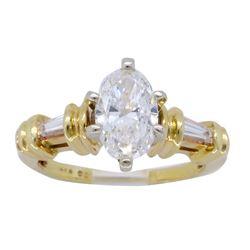 14KT Yellow Gold 1.11ctw GIA Cert Diamond Ring