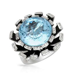 18KT White Gold 19.22ct Blue Topaz and Diamond Ring
