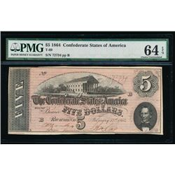 1864 $5 Confederate States of America Note PMG 64EPQ