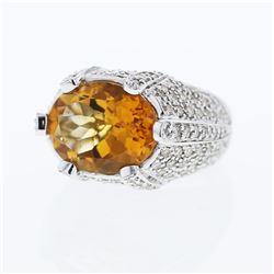 18KT White Gold 8.55ct Citrine and Diamond Ring