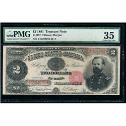 1891 $2 Treasury Note PMG 35