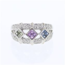 14KT White Gold 0.45ctw Multi Color Sapphire and Diamond Ring