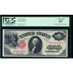 1917 $1 Legal Tender Note PCGS 63