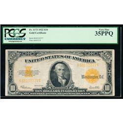 1922 $10 Gold Certificate PCGS 35