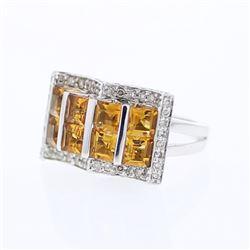 14KT White Gold 2.51ctw Citrine and Diamond Ring
