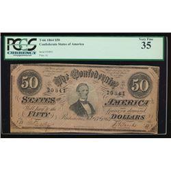 1864 $50 Confederate States of America Note PCGS 35