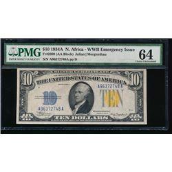 1934A $10 North Africa Emergency Silver Certificate PMG 64