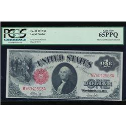 1917 $1 Legal Tender Non Mule Note PCGS 65PPQ