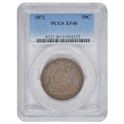 1872 Seated Liberty Half Dollar Coin PCGS XF40
