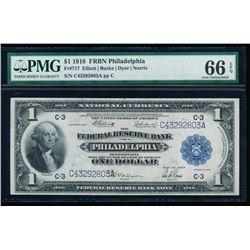 1918 $1 Philadelphia Federal Reserve Bank Note PMG 66EPQ