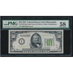 1934 $50 Minneapolis Federal Reserve Note PMG 58
