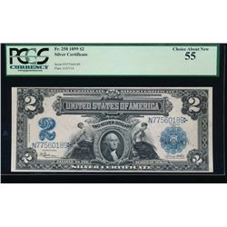 1899 $2 Mini Porthole Silver Certificate PCGS 55