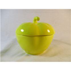 Rare Color California Pottery USA Yellow Lidded Apple Dish