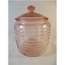 Pink Depression Glass Beehive Cookie Jar