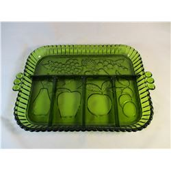 Indiana Glass Green Relish Tray