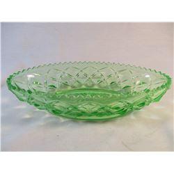 Green Vasaline Glass Relish Dish