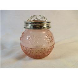 Pink Depression Glass Vase with Frog Flower Lid