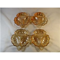 Carnival Jeannette Glass Orange Marigold Peach Luster Flower Relish Dishes Set of 4