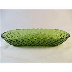 Vintage Indiana Glass Avocado Green Celery Dish