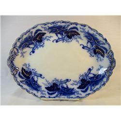 Vintage Fulton Johnson Bros Flow Blue and Gold Gilding Serving Platter