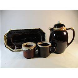 Lot of 4 Brown Drip Cups, Tea Pot and Bread Plate USA HULL PFALTZGRAFF