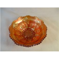 Marigold Carnival Glass Floral Bowl