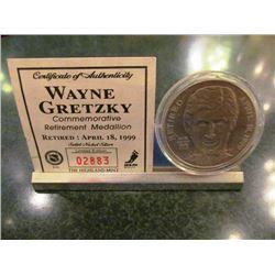 WAYNE GRETZKY COMMEMORATIVE RETIREMENT MEDALLION LTD EDITION #2883