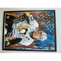 SIDNEY CROSBY NHL FRAMED OIL PAINTING BY M. OSYPCHUK