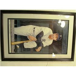 JOE DIMAGGIO FRAMED MLB PRINT BY ARMAND LAMONTAGNE. NY YANKEES FRAMED BANNER INCLUDED