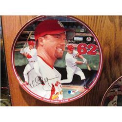 AUTOGRAPHED COLLECTABLE MLB PLATES - MARK MCGWIRE RECORD BREAKER 62, MARK MCGWIRE RECORD BREAKER 70,